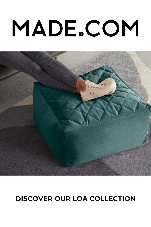 Loa Quilted Floor Cushion, Seafoam Blue Velvet