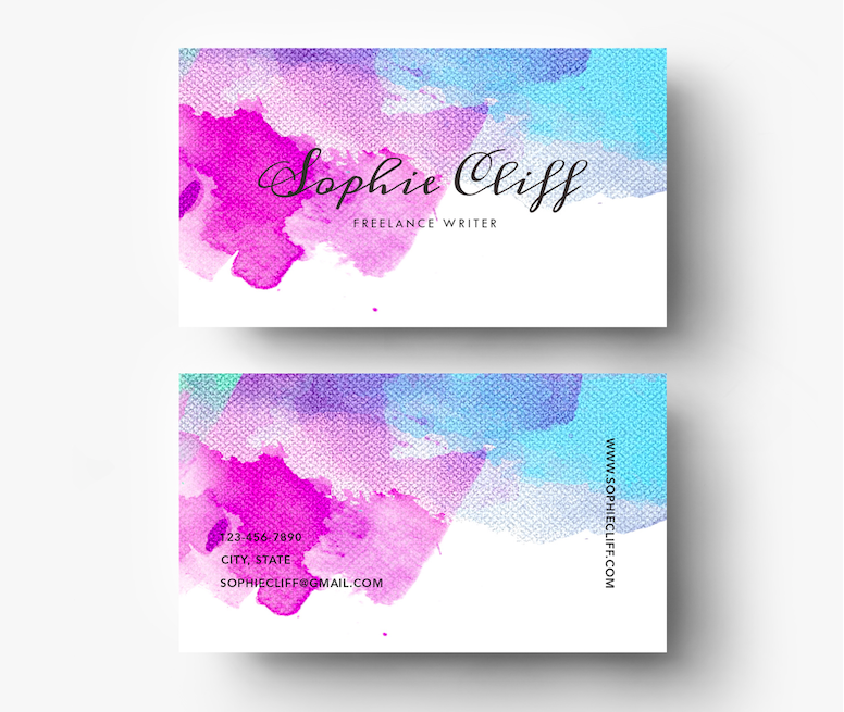 Water Color Resume Template Psd By Emily S Art Boutique On Creativemarket Business Cards Creative Templates Business Cards Creative Watercolor Business Cards