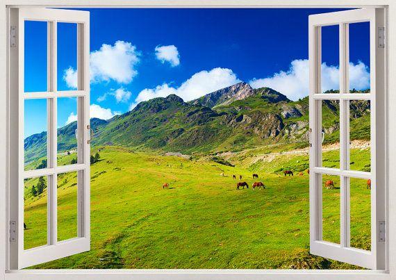 wall sticker horses in the mountain 3d window, horse in field wall