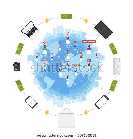Online shop concept on the sale of digital technology world map online shop concept on the sale of digital technology world map and silhouette of the city in the white background flat vector illustration eps 10 gumiabroncs Images