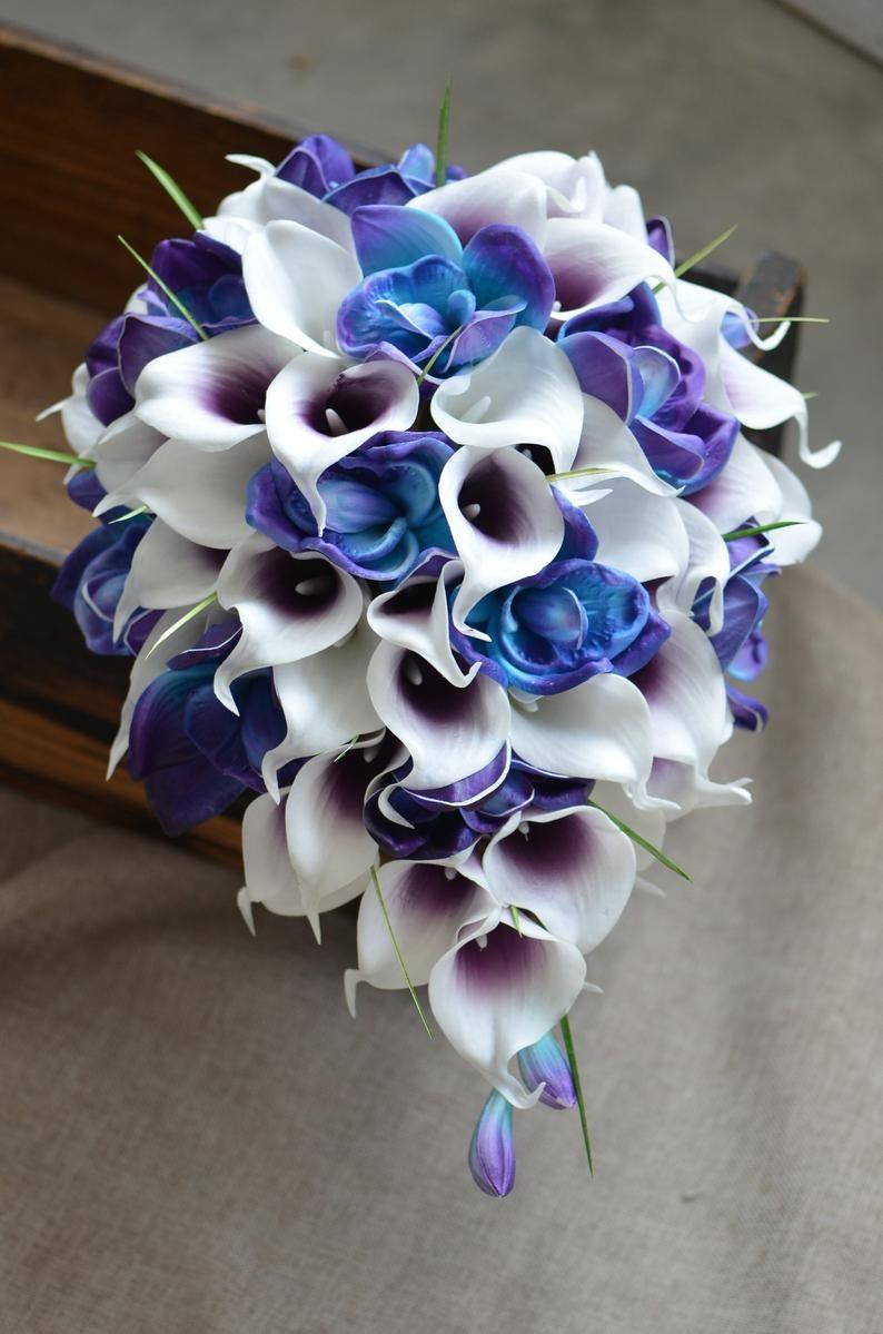 Blue purple bridal bouquets real touch blue purple orchids