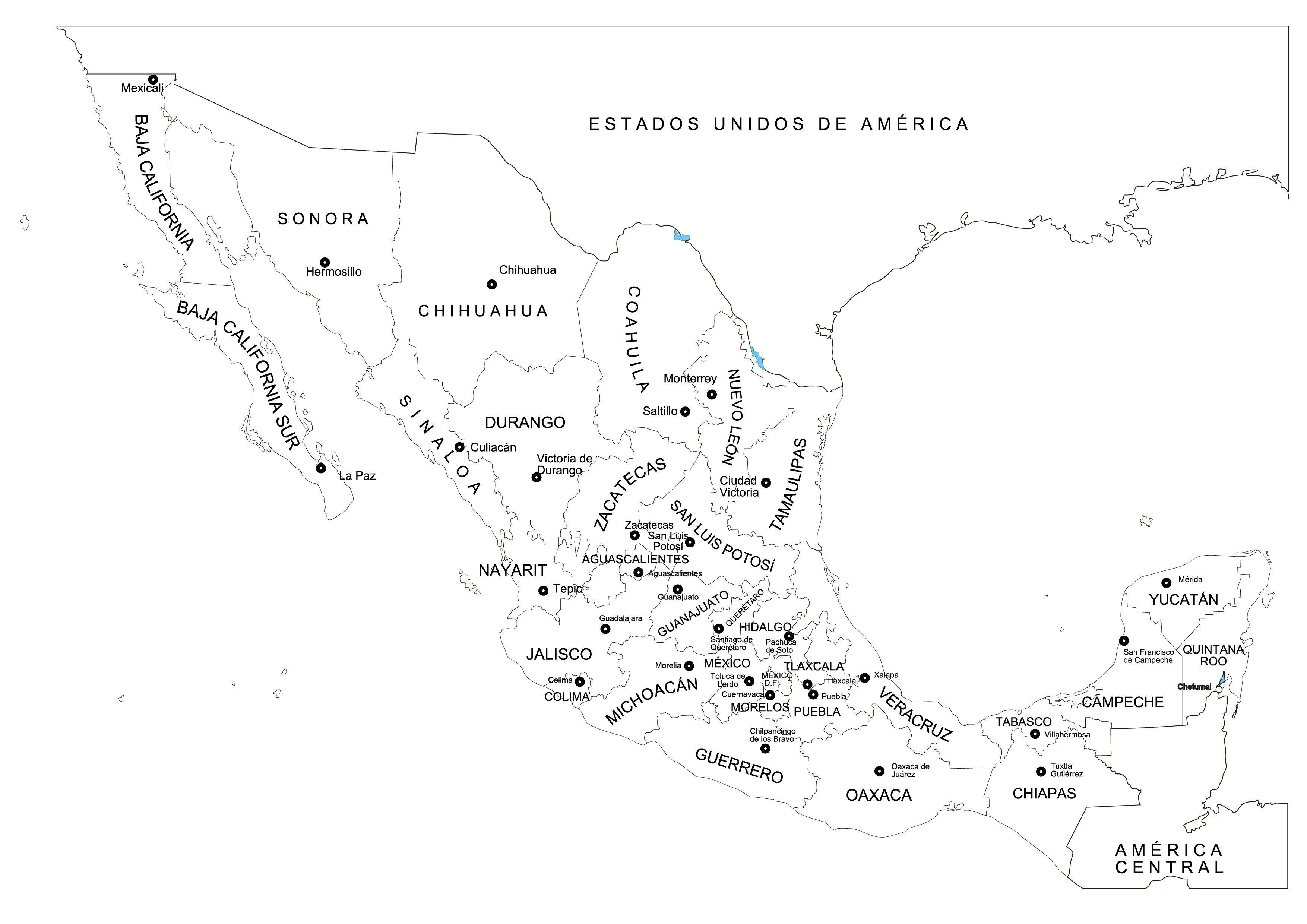 Mapa De Mexico Y Sus Estados Para Pintar Mapa De Mexico Mapa Mexico Con Nombres Mapas