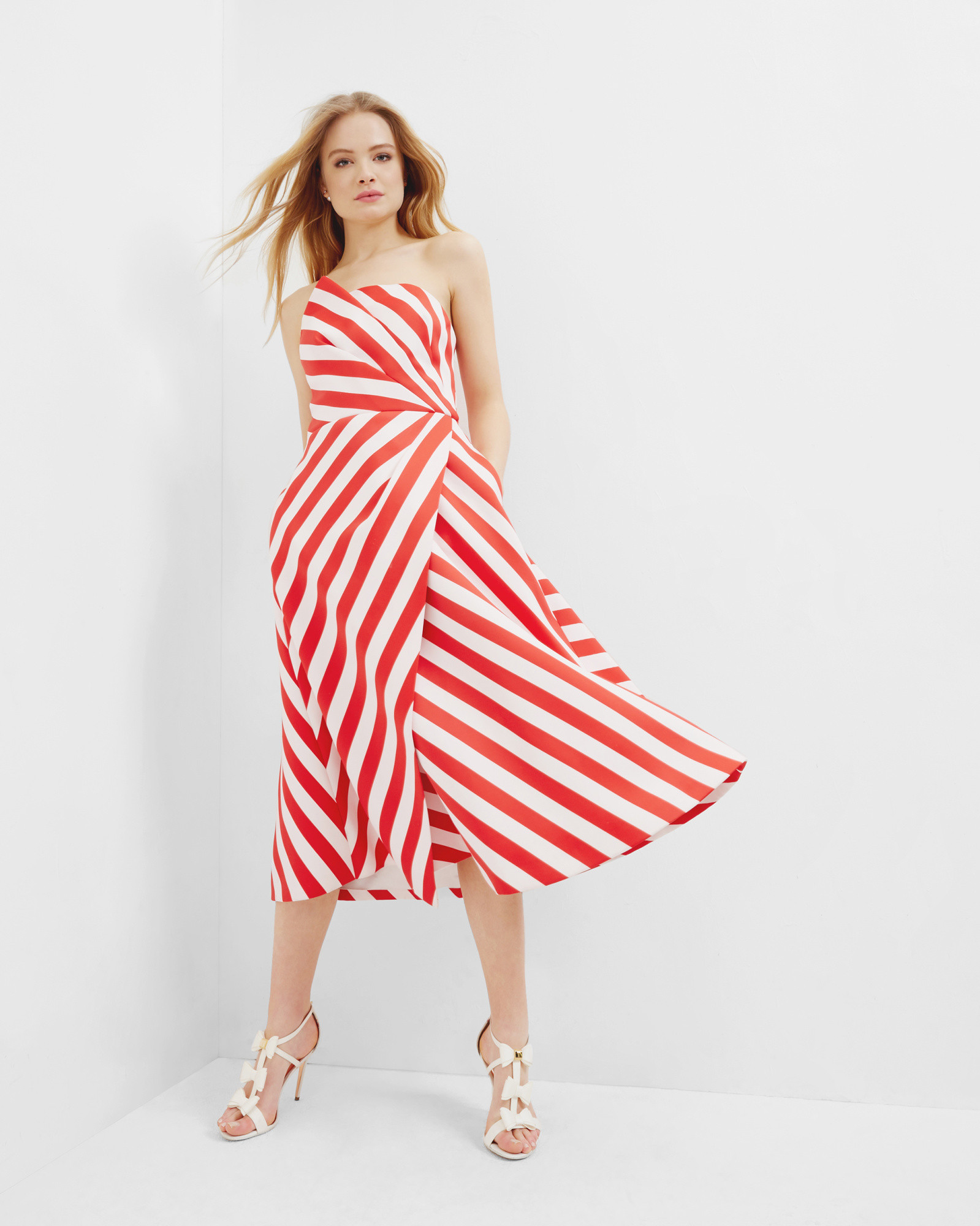 Strapless striped dress - Baby Pink | Dresses | Ted Baker ...