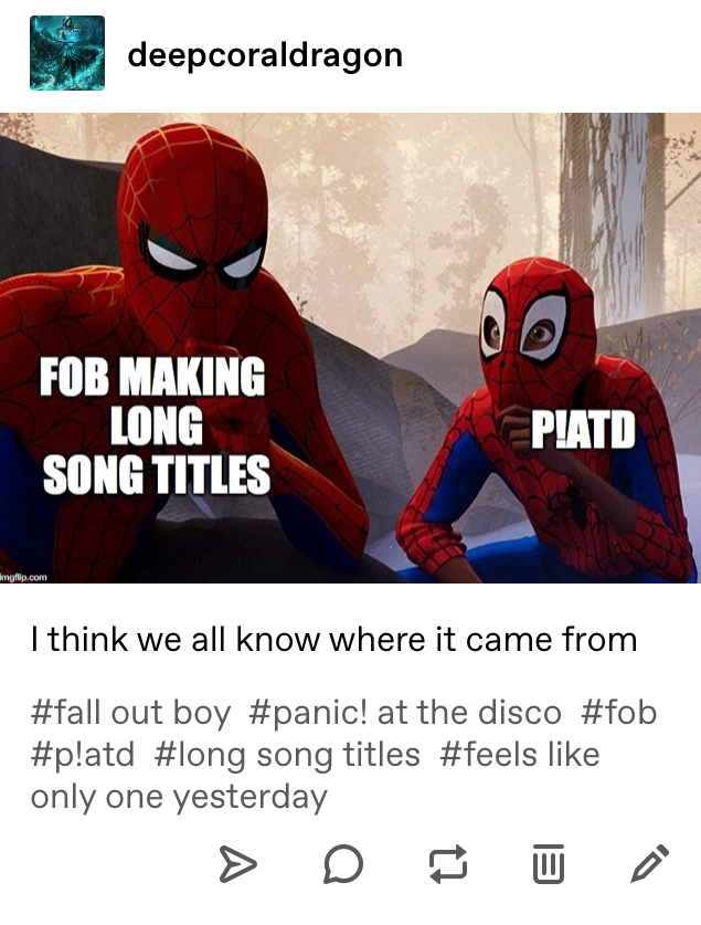 Fall Out Boy, P!atd, long song titles, Tumblr post