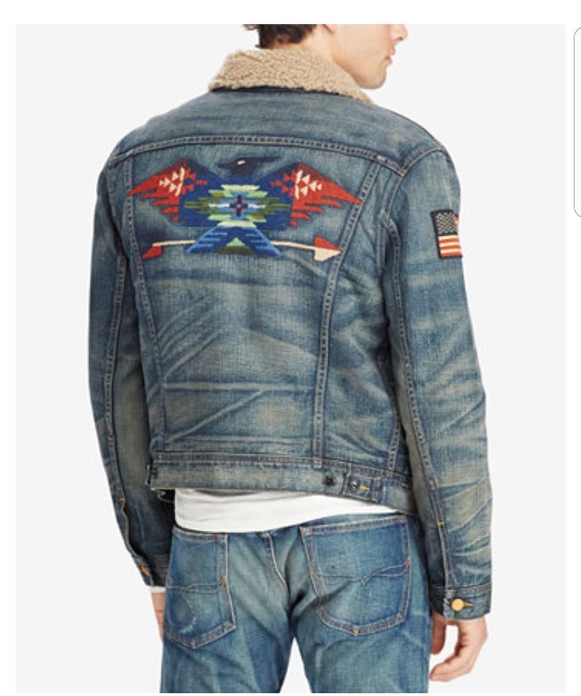 75f46e6112 NWT Ralph Lauren Polo Fleece Lined Indian Embroidered Denim Trucker Jacket  Sz S  fashion  clothing  shoes  accessories  mensclothing  coatsjackets  (ebay ...
