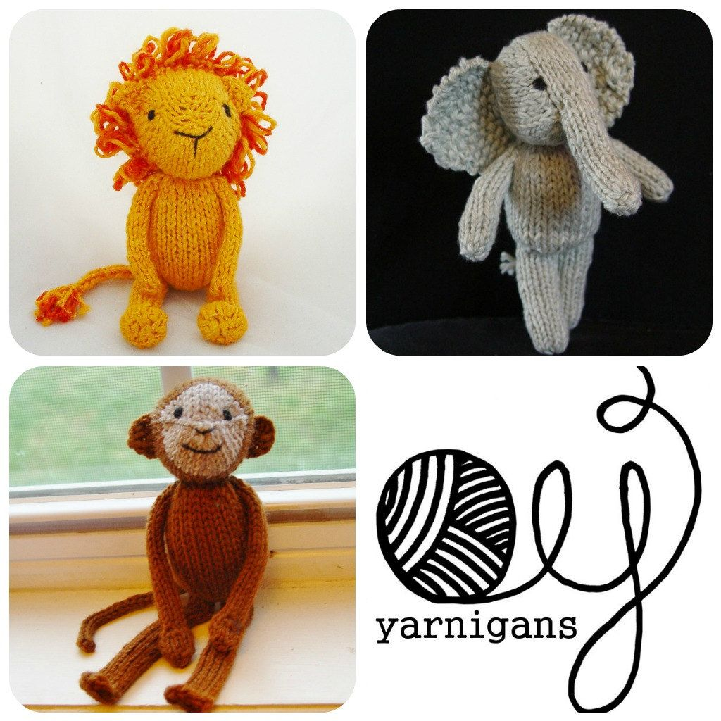 Three Pattern Special - Jungle Animals knitting patterns pdf. $8.50 ...