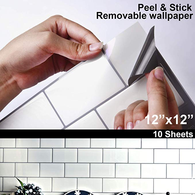 Amazon Com Stiquick Tiles 12 X12 Large Adhesive Peel And Stick Removable Wallpaper Subway Tile With W Peel And Stick Tile Stick On Tiles Removable Wallpaper