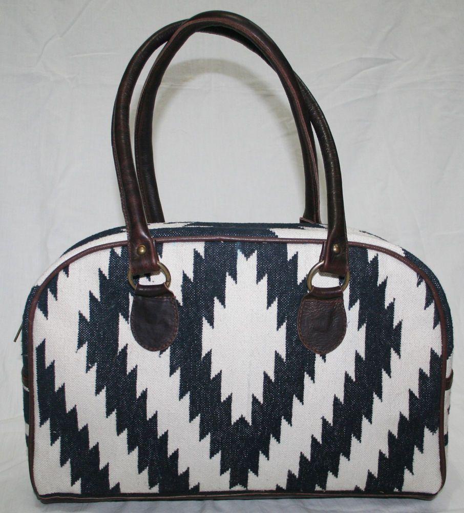 Cotton Kilim Bag Vintage Kilim Carpet Bag With Leather   #handmade #Hobo