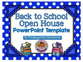back to school-open house powerpoint template-blue polka dot theme, Modern powerpoint