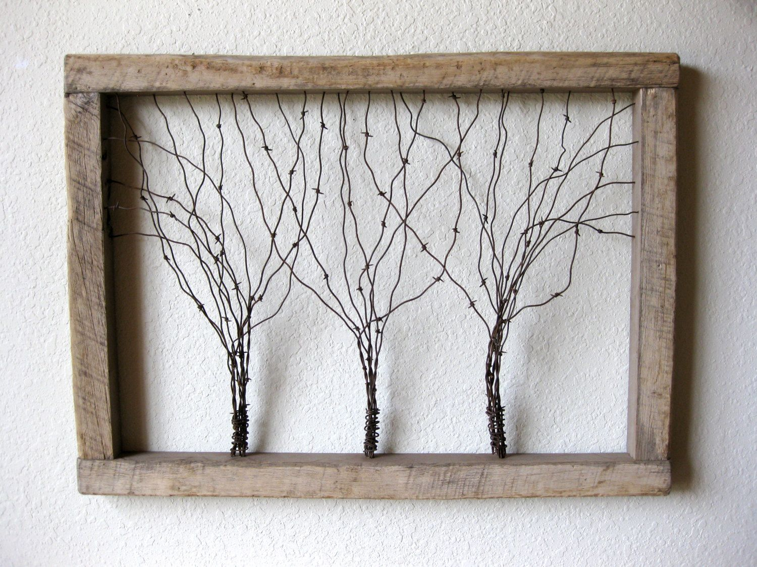 Large Reclaimed Barn Wood and Barbed Wire Tree Wall Art ~ Three ...