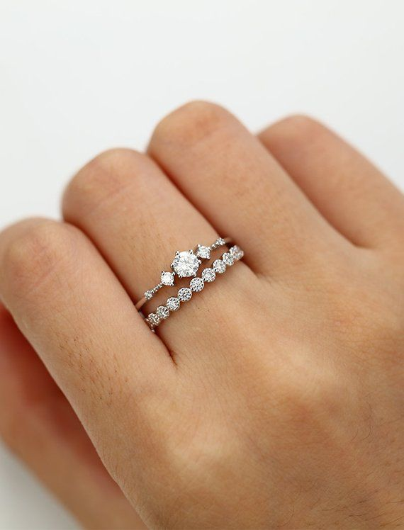 Photo of Moissanite engagement ring white gold Vintage Diamond wedding ring set Dainty antique Bridal Half eternity Promise Anniversary