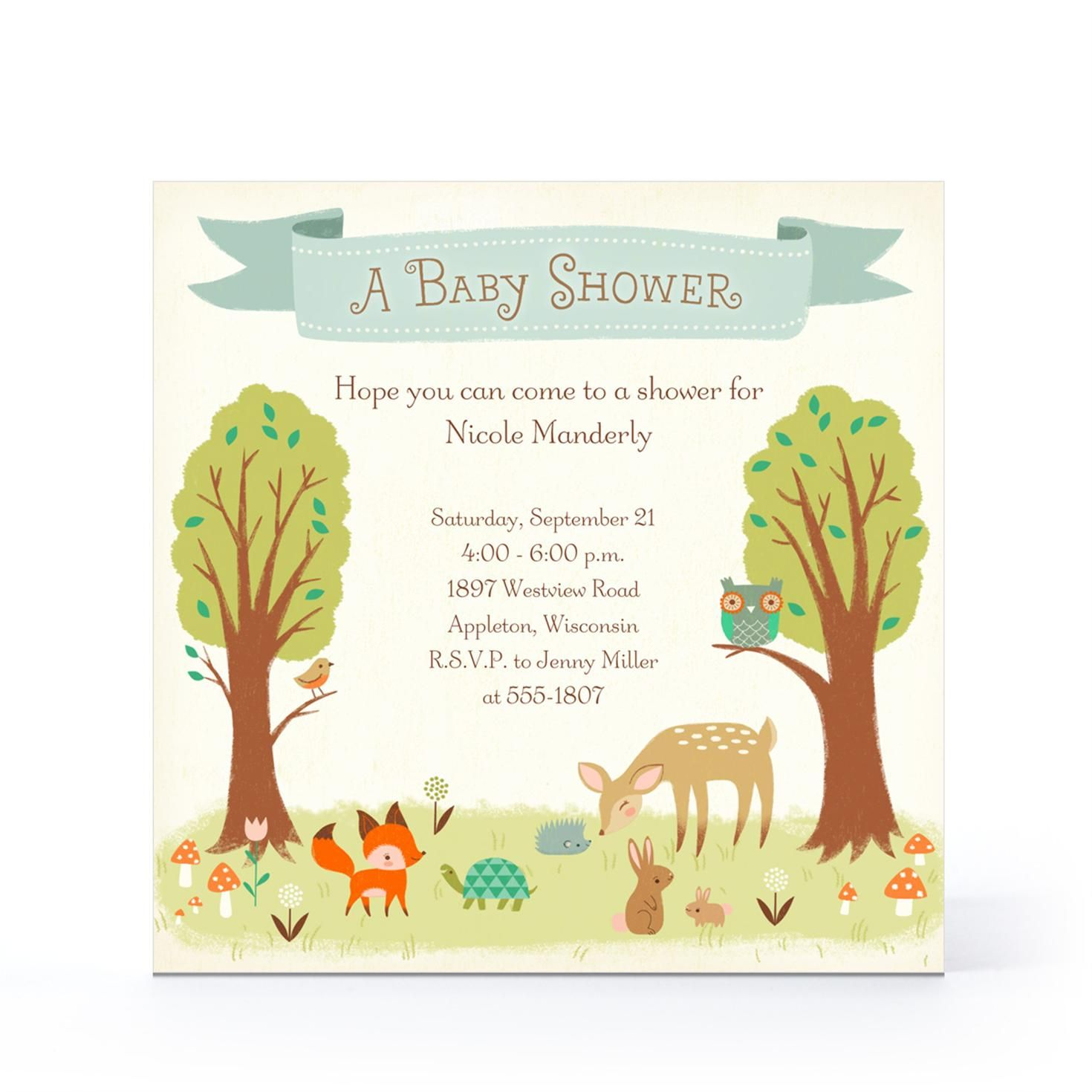 whimsical woodland baby invitation hallmark