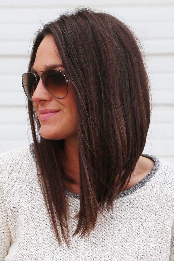 High Low Blunt Boblob Espresso Brunette Hair Care Style In