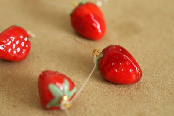 5 pc. Glass Strawberry Lampwork Charms - MIS-036