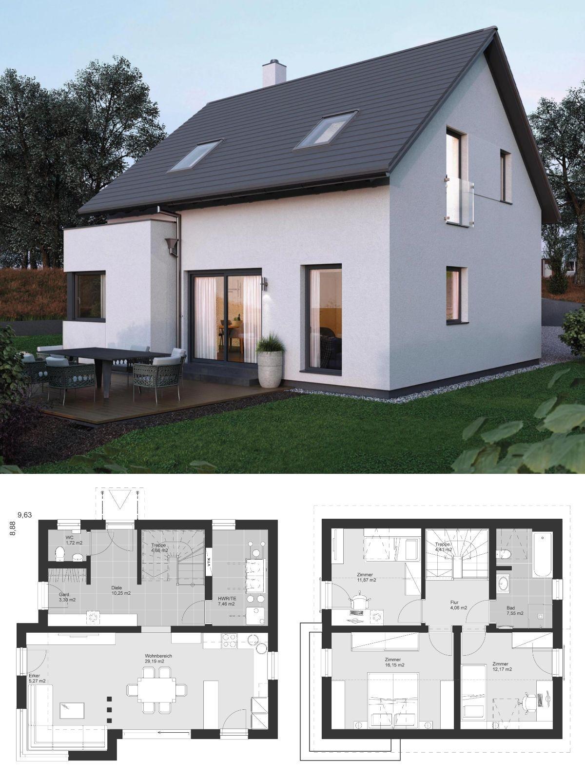 Satteldach Haus Klassisch Modern Grundriss Offen Mit Erker Anbau