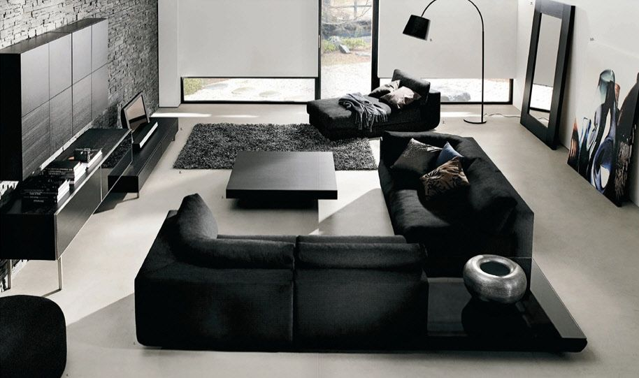 Merveilleux Black Furniture   Minimalist Design · Black Living Room ...