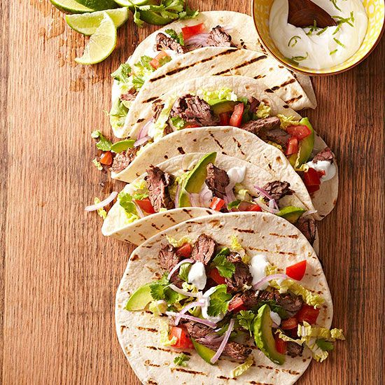 Skirt Steak Tacos with Guacamole and Lime Crema