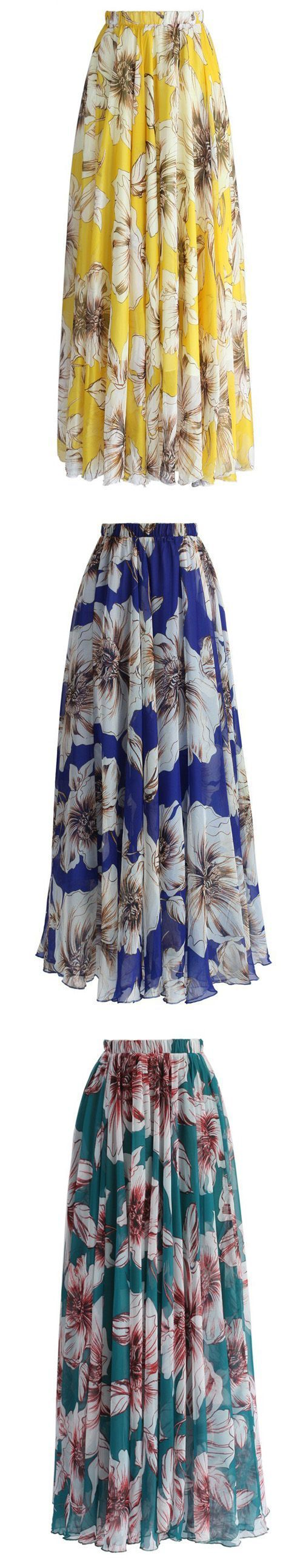 Marvel at the bold floral print of this gossamer maxi frock. Swirl in it with a trendy off-shoulder top or cami, your summer vacation is in countdown!