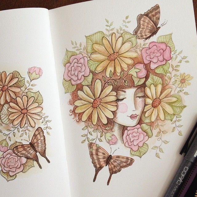 More doodling #art_we_inspire #art #artist #artjournal #illustration #girlart #sketch #sketchbook #doodle #doodling #flowers #floralart #instaart #instaartist #ink #watercolor #watercolour #drawing #copic #butterflies #butterfly