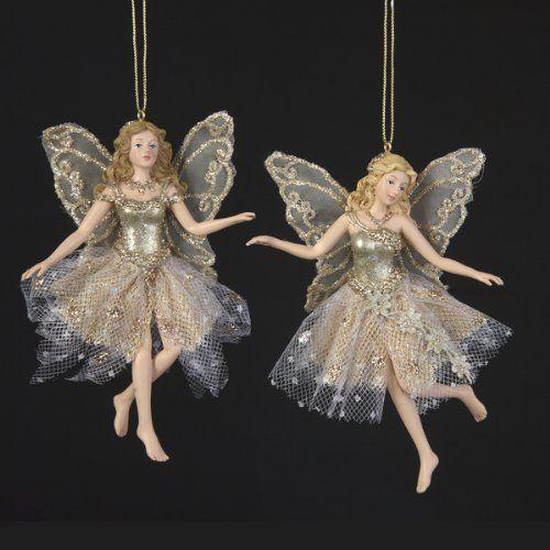 Fairy Christmas Ornaments.Kurt Adler Resin Platinum Fairy Ornament Pair 5 Inch