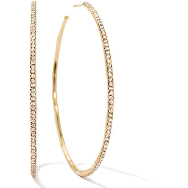Stardust Extra Large Hoop Earrings In 18k Gold With Diamonds