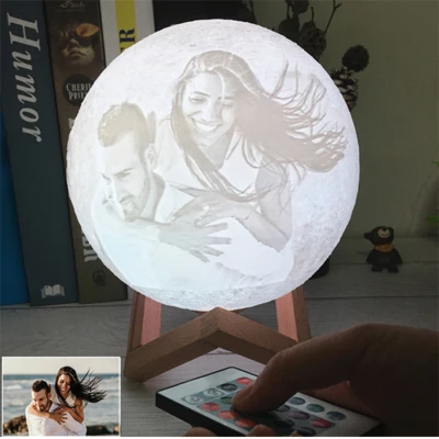 Personalized Photo 3d Printing Moon Light Night Lamp With Usb Charger Valentines Day Gifts 16 Color In 2020 Night Light Custom Photo Night Lamps
