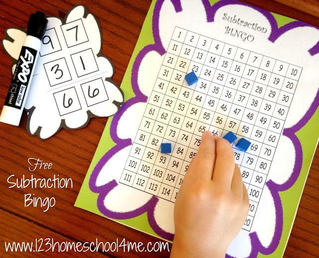 Free Subtraction Bingo Math Game Homeschool Pinterest Math