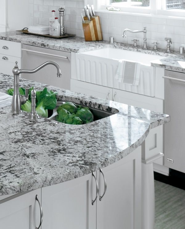 White Kitchen Cabinets With Gray Countertops: Eat-in And Cook-in Kitchen. In 2019