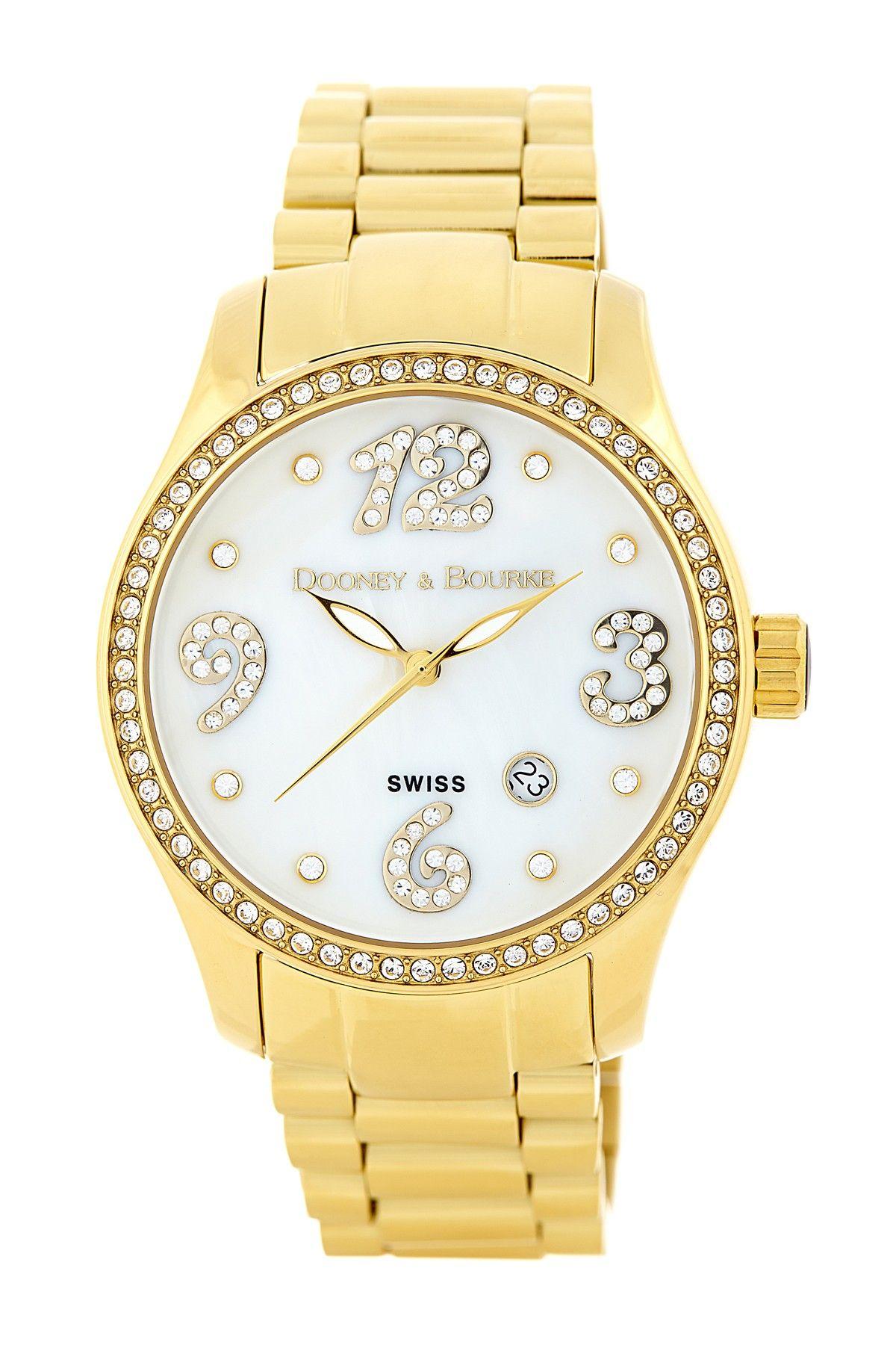 85ed9128973 Dooney   Bourke Women s Gold Crystal Mother of Pearl Bracelet Watch ...