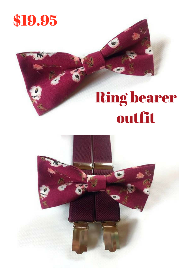 90e972fb1577 20% off with code PINTEREST20OFF Burgundy wedding ring bearer outfit  Groomsmen outfit Groom outfit ideas wedding set of bow ties and suspenders