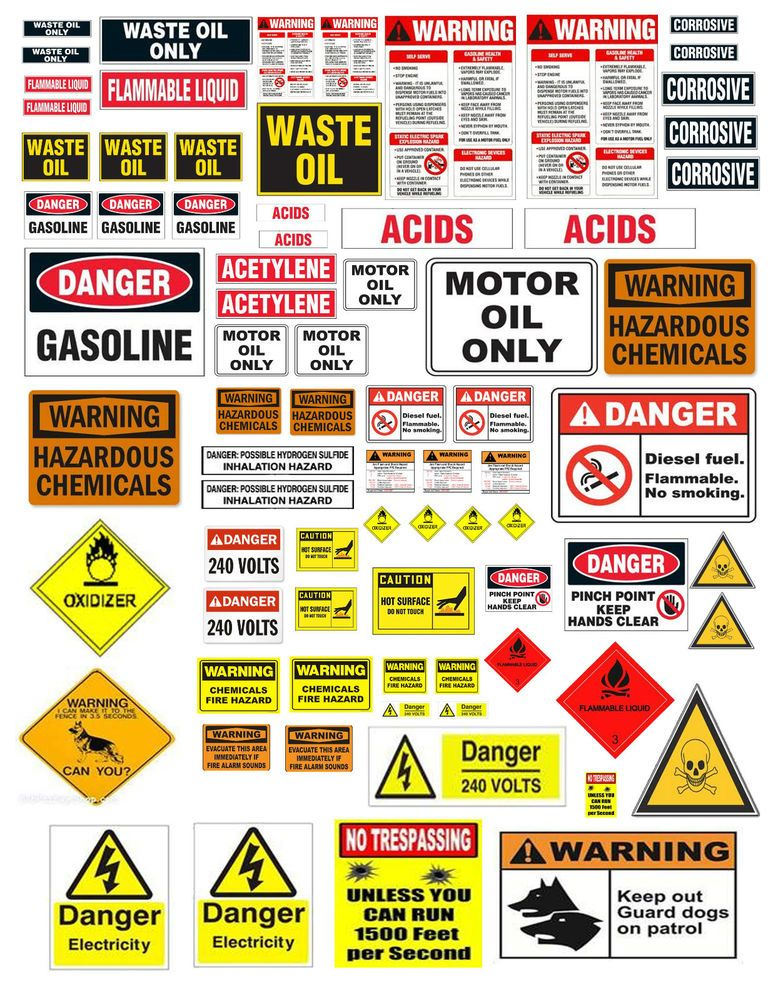 1 18 124 WARNING SIGN DECALS FOR DIECAST GARAGE  DIORAMAS