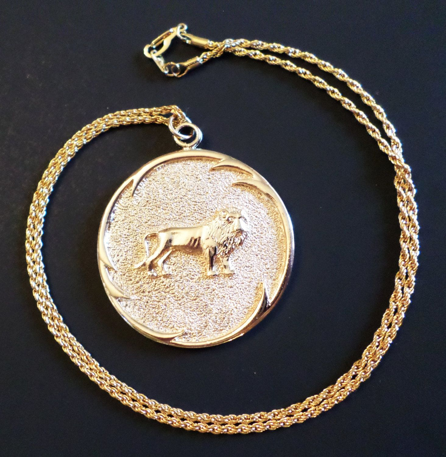 chanel medallion necklaces brass gold en large tone plated lion lxrandco necklace on us