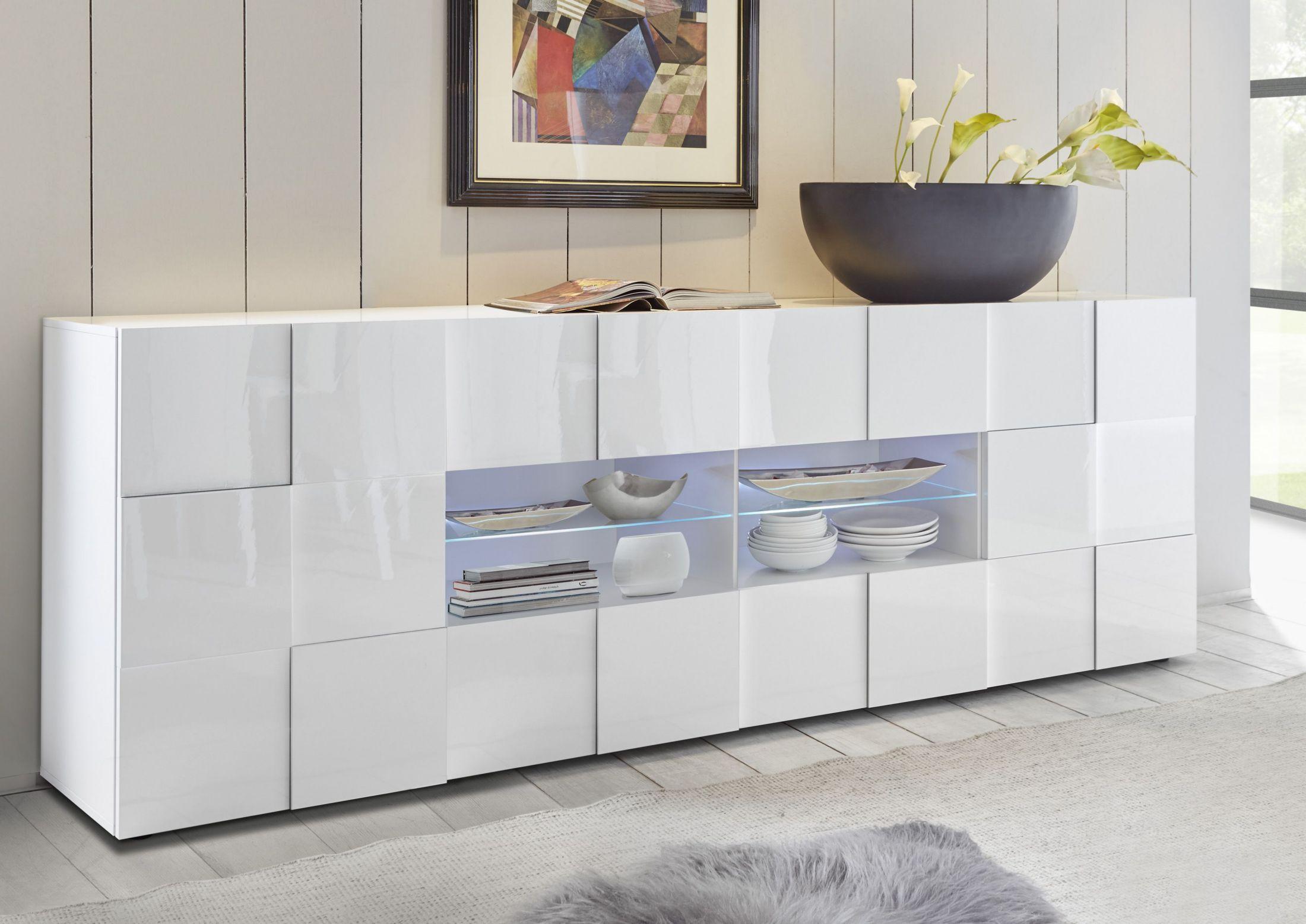 Künstlerisch Kommode Weiß Hochglanz Design Galerie Von Sideboard Anrichte In Weiss Lackiert 3d-optikwoody 12-01195