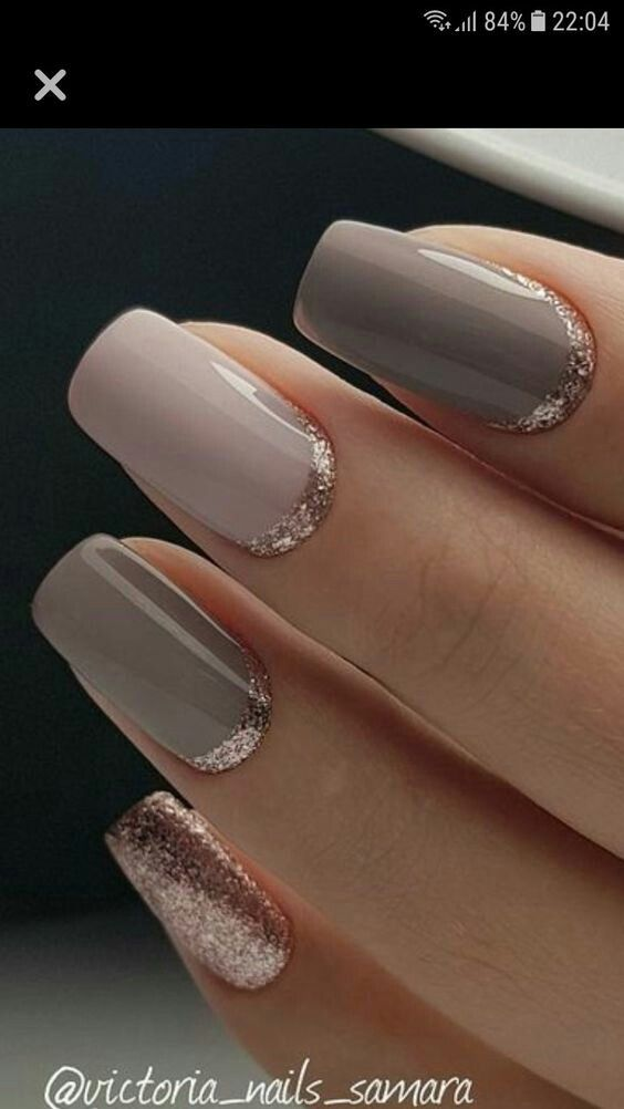 Pink and taupe and rose gold nails