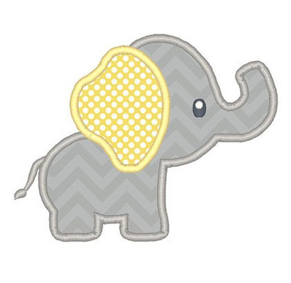 Baby-Elefant Applikation Stickerei Design – sofort-Download