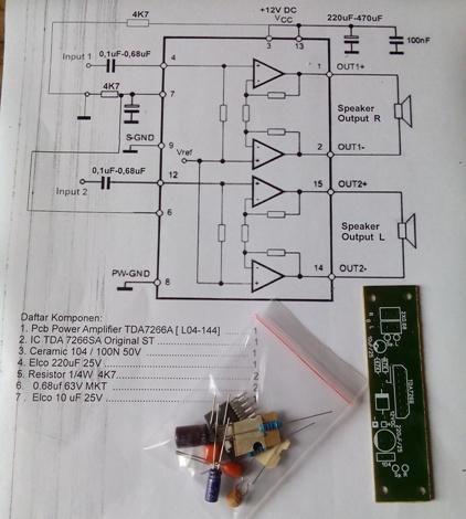 Kit Power Amplifier Dc12v 2a Tda7266sa Stereo 2x40w Belum Solder Belum Termasuk Heatsink Cuma Pcb Komponen Power Amplifiers Amplifier Soldering