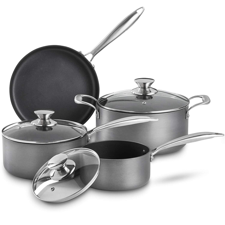 Vonshef Premium Hard Anodized Aluminum Nonstick Cookware Pots And Pans Set 2 Saucepans With Lids 1 Amazo Pots And Pans Sets Oven Casserole Nonstick Cookware