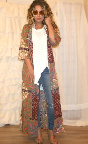 Shira Bohemian Patchwork Duster, boho outfits, bohemian fashion