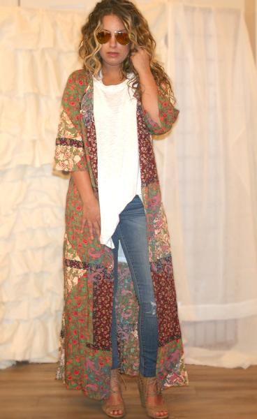 Shira Bohemian Patchwork Duster, boho outfits, bohemian fashion