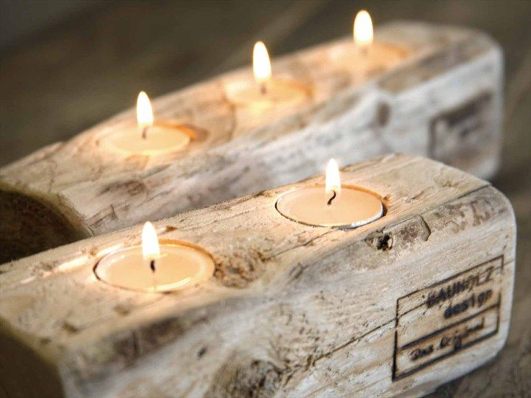 Wooden candle holder by bauholz design wooden furniture for Targhe decorative in legno