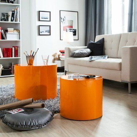 2er-Set Beistelltisch Circle Orange Hochglanz - Couchtisch - wohnzimmer orange grau
