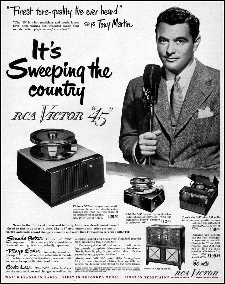 Rca Victor 45 Rpm Records Ad From 1950 Baby Fish Tony Martin