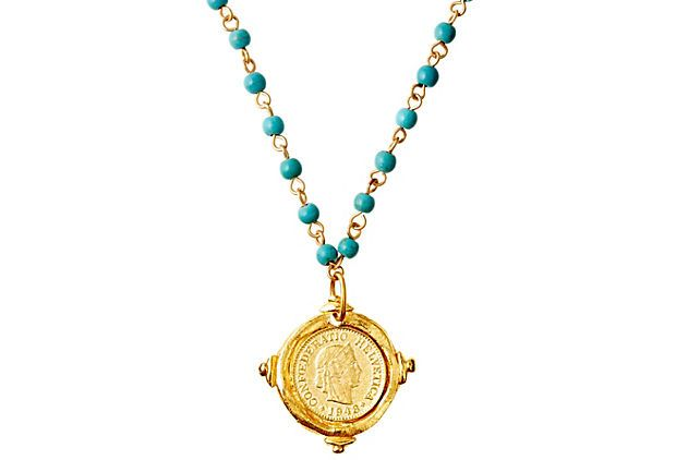 Turquoise Link Necklace w/ Gold Coin on OneKingsLane.com