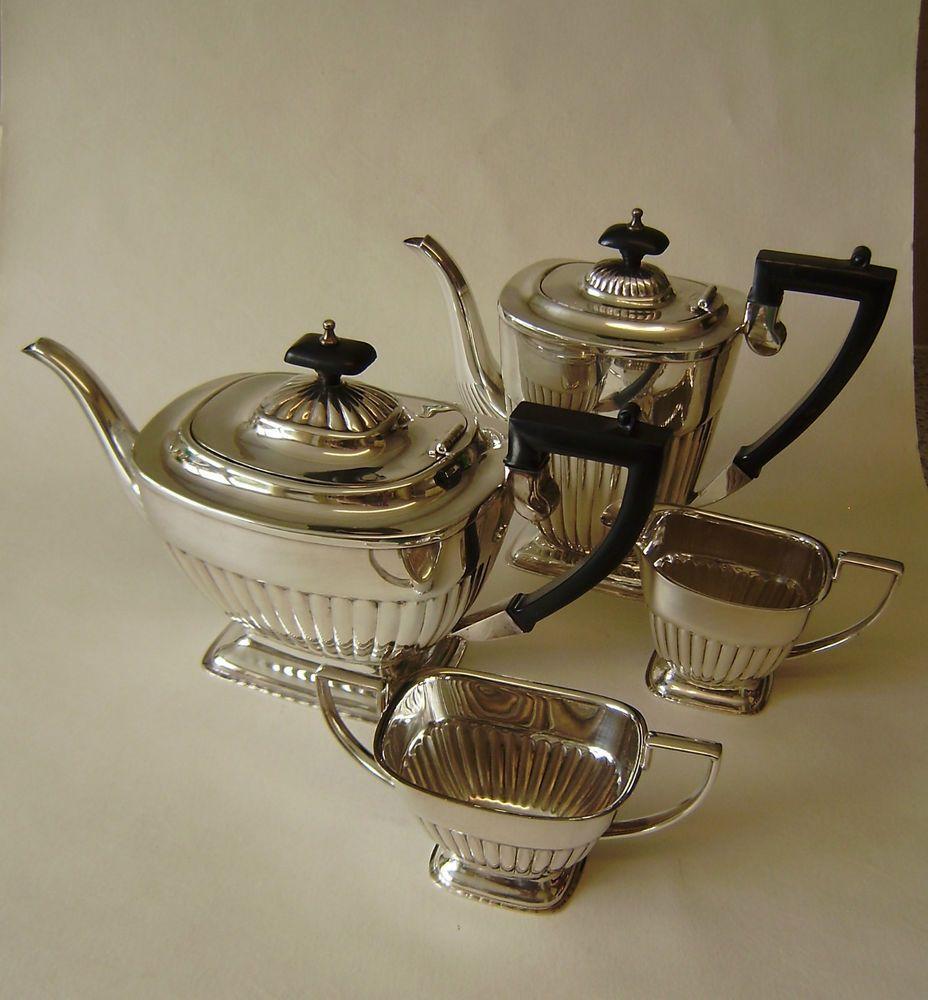Vintage Silver Plate Sheffield Art Deco Teapot Set Sugar