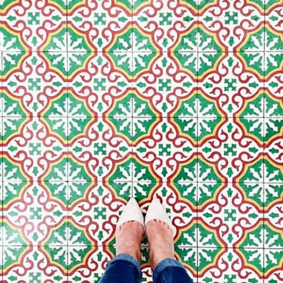 Mosaic Faience Tile Carreaux De Ciment Rouge Et Vert Anciens