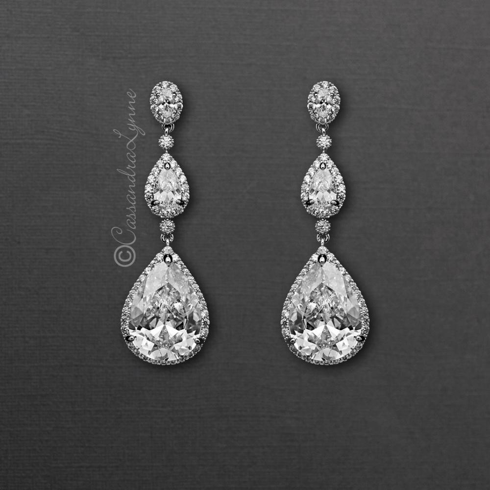 Large Waterdrop Cz Dangle Bridal Earrings Bridal Earrings Bride Earrings Wedding Jewelry