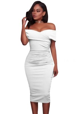 5d56d5be8b5 White Ruched Off Shoulder Bodycon Midi Dress
