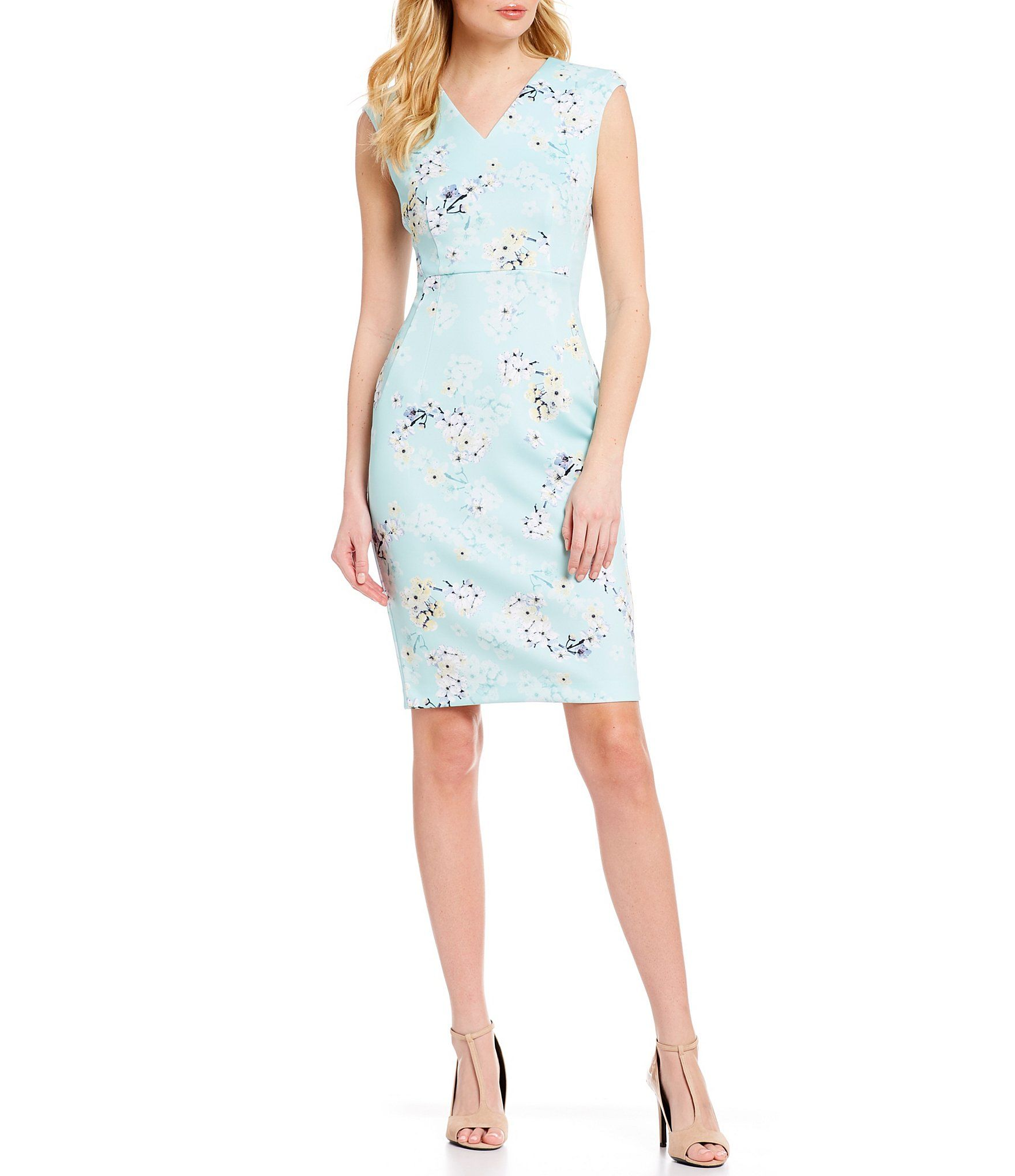 Calvin Klein Cherry Blossom Floral Print Sleeveless V Neck