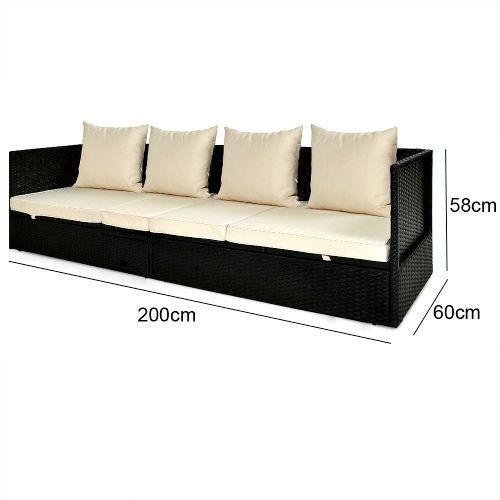 Sofa Lounger Outdoor Leather Sale Melbourne Wicker Sunbed Reclining Rattan Sun Patio Furniture Cushions Unbranded