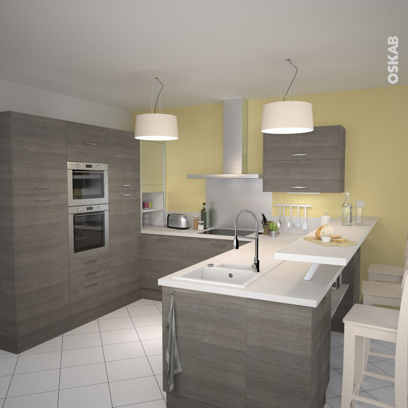 Cuisine en bois structur stilo noyer naturel kitchens for Plan de cuisine moderne